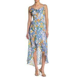 Kensie 8 Blue Multi Floral Burnout Dress NWT J58